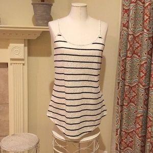 LOFT white with black stripes sparkly tank